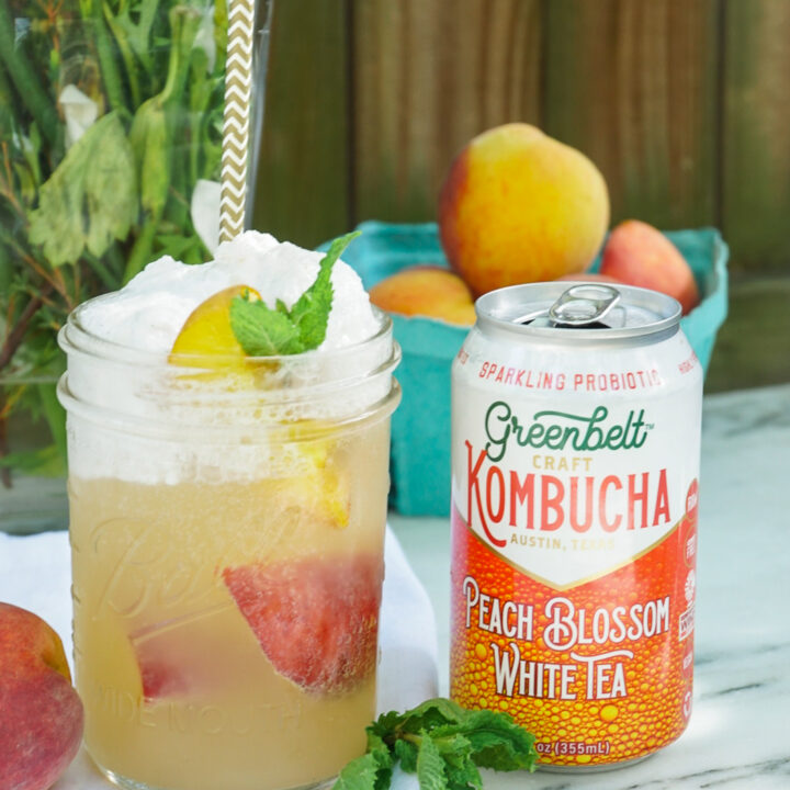 Grilled Peach Kombucha Float