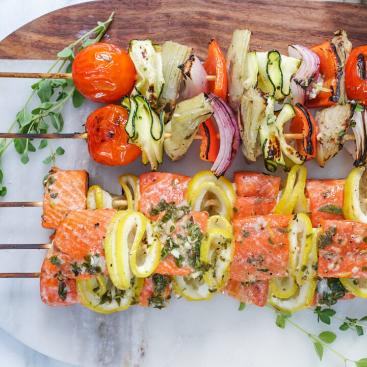 Grilled Salmon and Veggie Kabobs-30