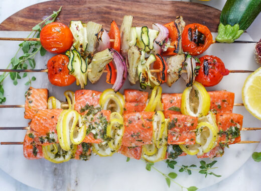 Grilled Salmon and Veggie Kabobs