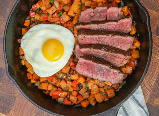 Steak and sweet potato hash
