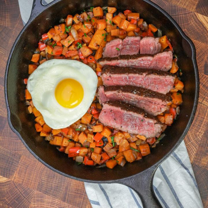 Steak and sweet potato hash