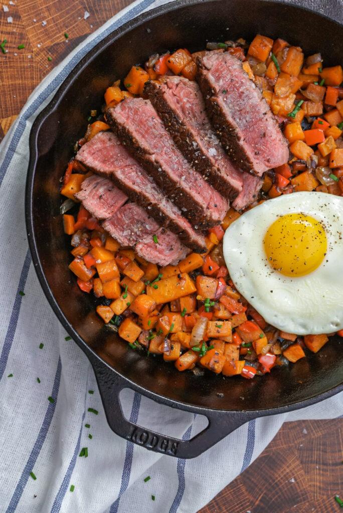 Steak and sweet potato hash recipe