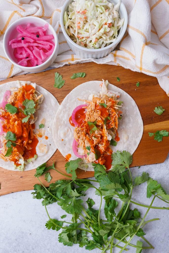 Crockpot Buffalo Chicken Tacos