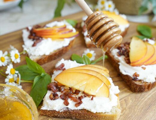 Ricotta Toast with Pancetta and Peaches