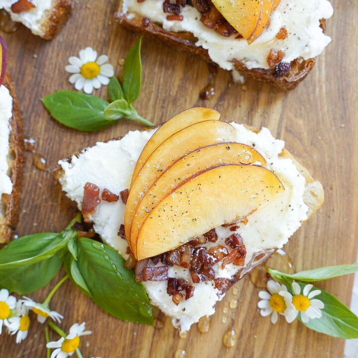 Ricotta Toast with Pancetta and Peach Recipe